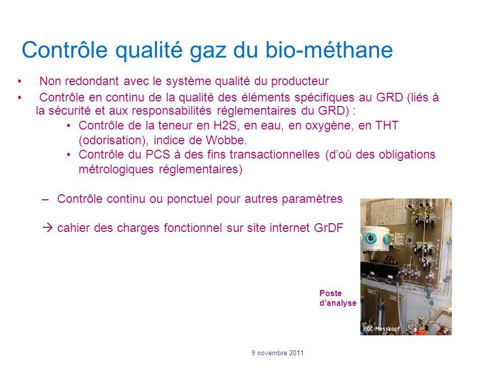 9 novembre 2011 Contrôle qualité gaz du bio-méthane Non redondant avec le système qualité du producteur Contrôle en continu de la qualité des éléments spécifiques au GRD (liés à la sécurité et aux responsabilités réglementaires du GRD) : Contrôle de la teneur en H2S, en eau, en oxygène, en THT (odorisation), indice de Wobbe.