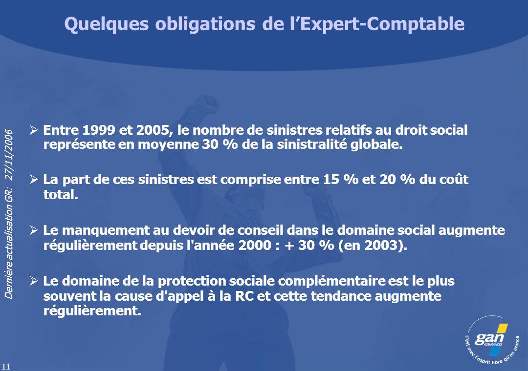 Dernière actualisation GR: 27/11/2006 11 Entre 1999 et 2005, le nombre de sinistres relatifs au droit social représente en moyenne 30 % de la sinistra