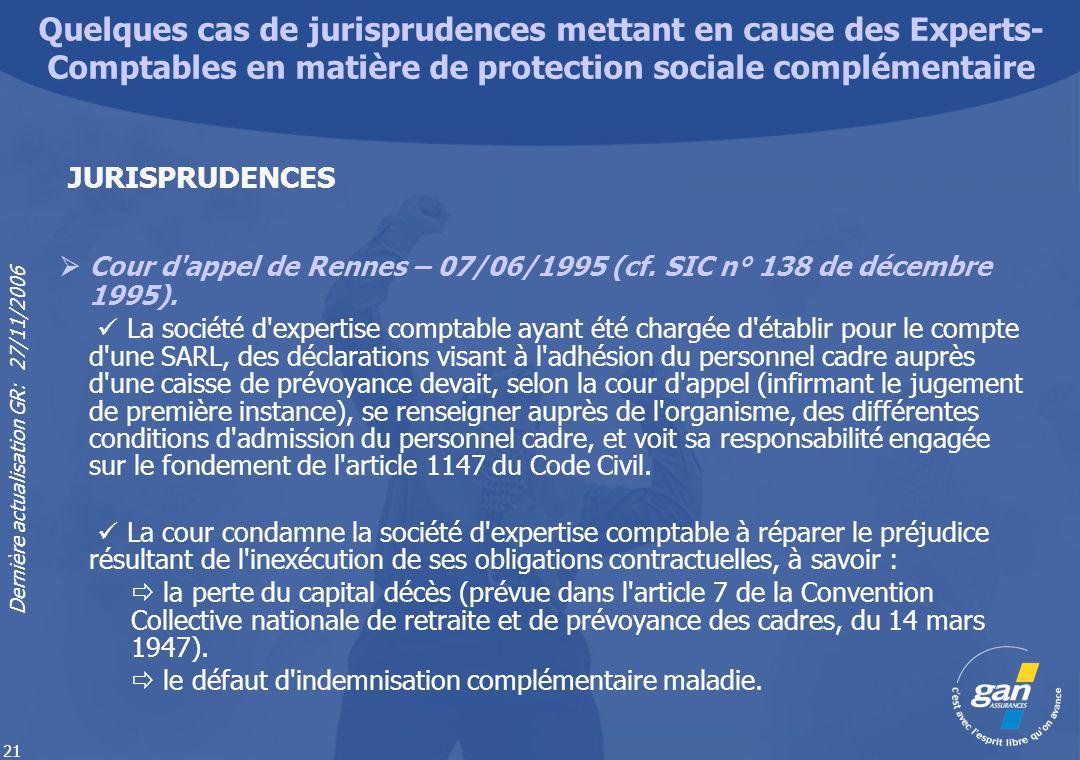 Dernière actualisation GR: 27/11/2006 21 Cour d'appel de Rennes – 07/06/1995 (cf. SIC n° 138 de décembre 1995). La société d'expertise comptable ayant