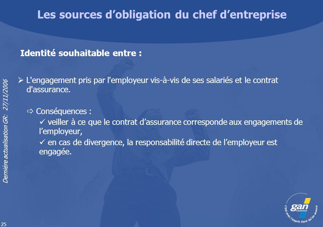 Dernière actualisation GR: 27/11/2006 25 L'engagement pris par l'employeur vis-à-vis de ses salariés et le contrat d'assurance. Conséquences : veiller