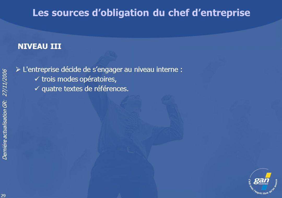 Dernière actualisation GR: 27/11/2006 29 L'entreprise décide de sengager au niveau interne : trois modes opératoires, quatre textes de références. NIV