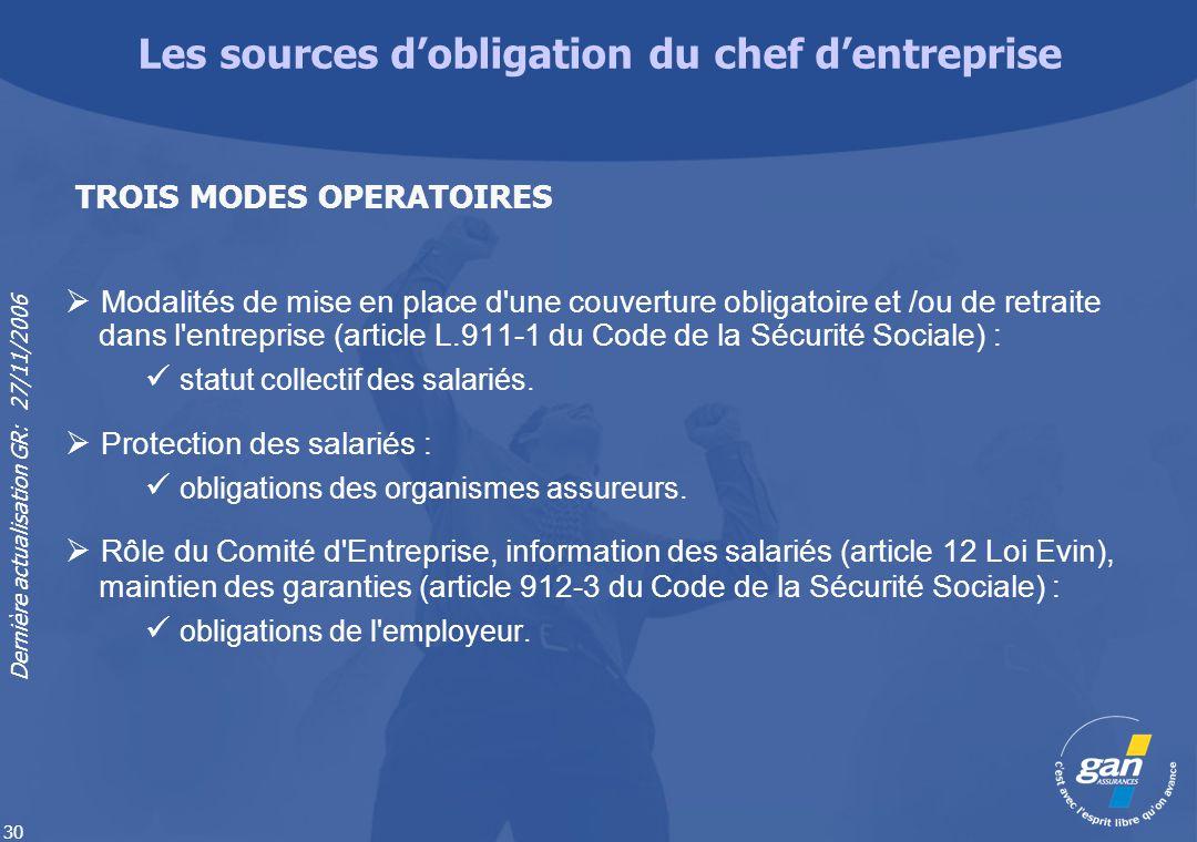 Dernière actualisation GR: 27/11/2006 30 Modalités de mise en place d'une couverture obligatoire et /ou de retraite dans l'entreprise (article L.911-1