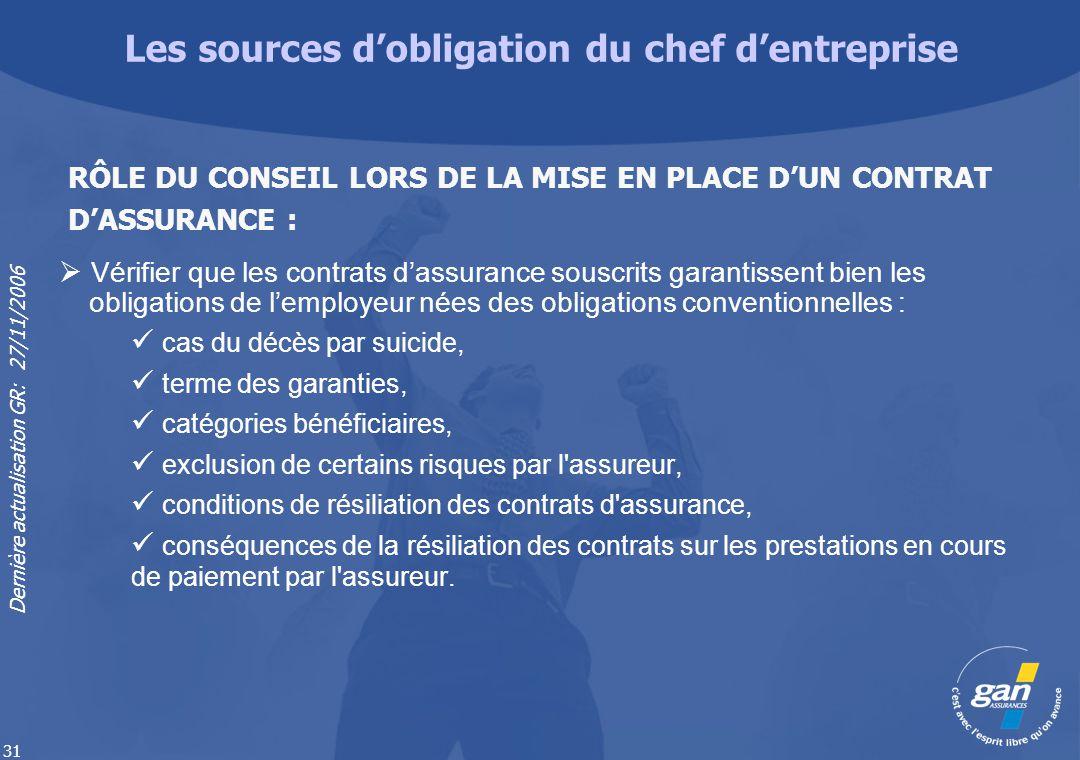 Dernière actualisation GR: 27/11/2006 31 Vérifier que les contrats dassurance souscrits garantissent bien les obligations de lemployeur nées des oblig