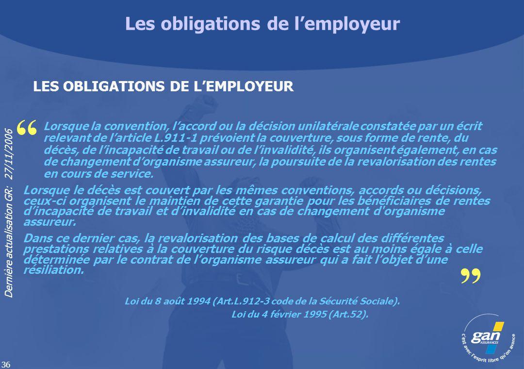 Dernière actualisation GR: 27/11/2006 36 Lorsque la convention, laccord ou la décision unilatérale constatée par un écrit relevant de larticle L.911-1