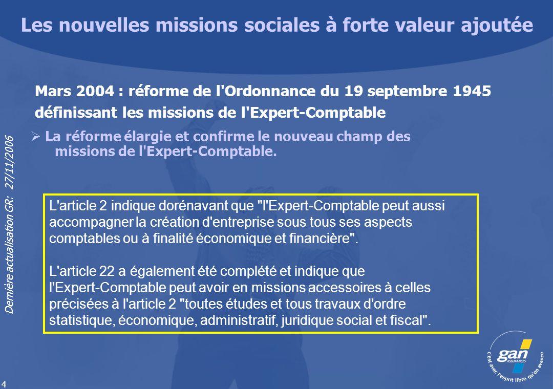 Dernière actualisation GR: 27/11/2006 4 La réforme élargie et confirme le nouveau champ des missions de l'Expert-Comptable. Mars 2004 : réforme de l'O