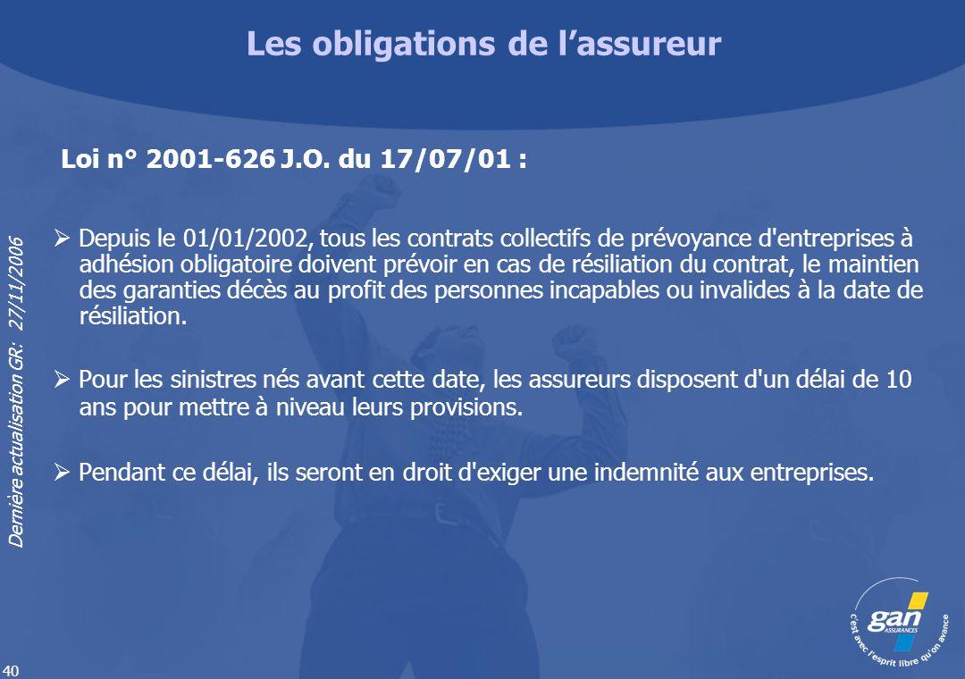 Dernière actualisation GR: 27/11/2006 40 Depuis le 01/01/2002, tous les contrats collectifs de prévoyance d'entreprises à adhésion obligatoire doivent
