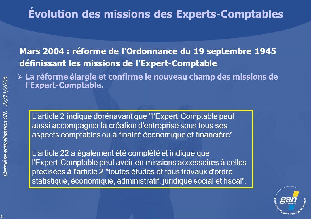 Dernière actualisation GR: 27/11/2006 6 Évolution des missions des Experts-Comptables L'article 2 indique dorénavant que