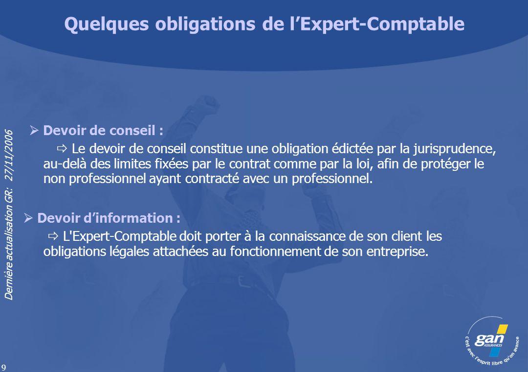 Dernière actualisation GR: 27/11/2006 9 Devoir de conseil : Le devoir de conseil constitue une obligation édictée par la jurisprudence, au-delà des li