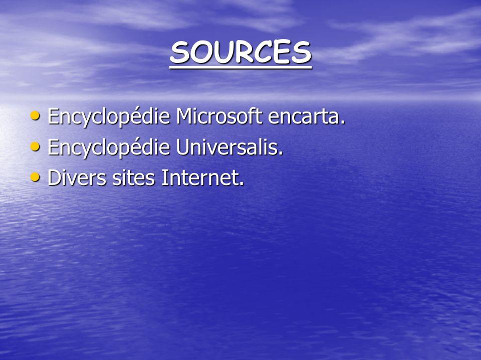 SOURCES Encyclopédie Microsoft encarta.Encyclopédie Microsoft encarta.