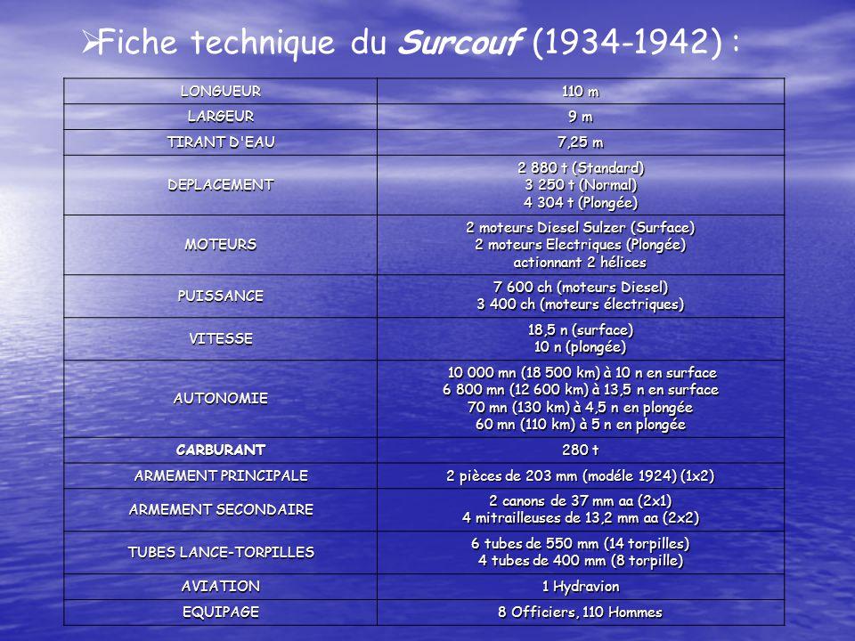 Fiche technique du Surcouf (1934-1942) : LONGUEUR 110 m LARGEUR 9 m TIRANT D EAU 7,25 m DEPLACEMENT 2 880 t (Standard) 3 250 t (Normal) 4 304 t (Plongée) MOTEURS 2 moteurs Diesel Sulzer (Surface) 2 moteurs Electriques (Plongée) actionnant 2 hélices PUISSANCE 7 600 ch (moteurs Diesel) 3 400 ch (moteurs électriques) VITESSE 18,5 n (surface) 10 n (plongée) AUTONOMIE 10 000 mn (18 500 km) à 10 n en surface 10 000 mn (18 500 km) à 10 n en surface 6 800 mn (12 600 km) à 13,5 n en surface 70 mn (130 km) à 4,5 n en plongée 60 mn (110 km) à 5 n en plongée CARBURANT 280 t ARMEMENT PRINCIPALE 2 pièces de 203 mm (modéle 1924) (1x2) ARMEMENT SECONDAIRE 2 canons de 37 mm aa (2x1) 4 mitrailleuses de 13,2 mm aa (2x2) TUBES LANCE-TORPILLES 6 tubes de 550 mm (14 torpilles) 4 tubes de 400 mm (8 torpille) AVIATION 1 Hydravion EQUIPAGE 8 Officiers, 110 Hommes