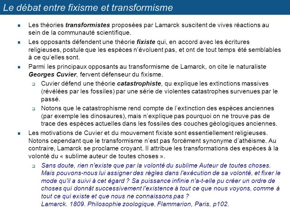 Le débat entre fixisme et transformisme Les théories transformistes proposées par Lamarck suscitent de vives réactions au sein de la communauté scient