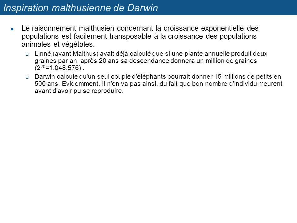 Inspiration malthusienne de Darwin Le raisonnement malthusien concernant la croissance exponentielle des populations est facilement transposable à la