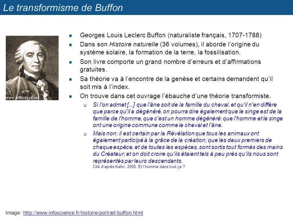 Le transformisme de Buffon Georges Louis Leclerc Buffon (naturaliste français, 1707-1788) Dans son Histoire naturelle (36 volumes), il aborde lorigine