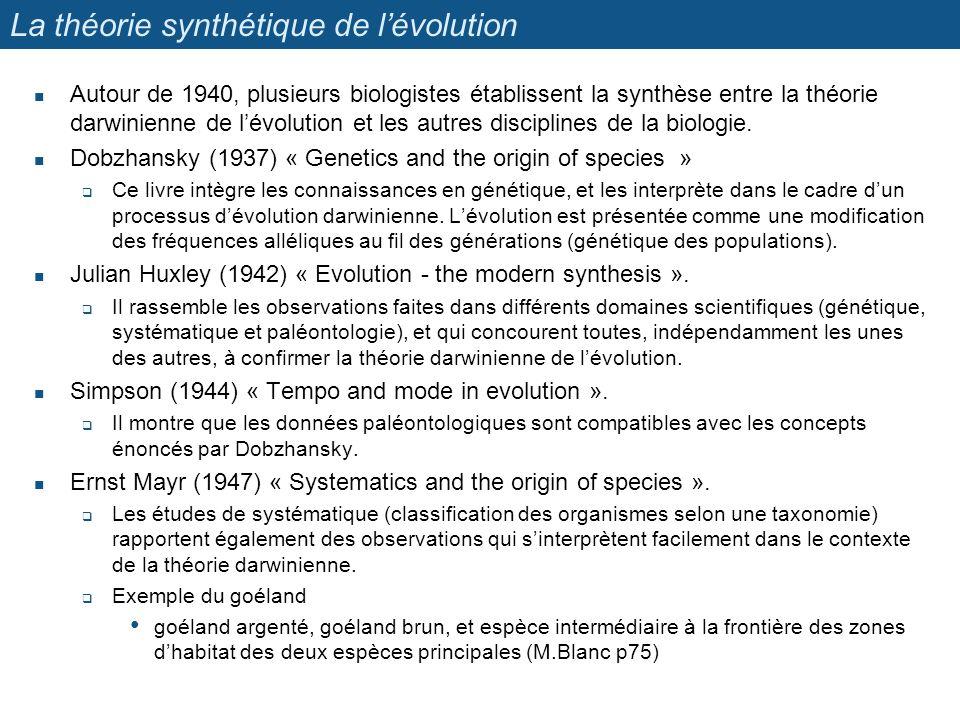 La théorie synthétique de lévolution Autour de 1940, plusieurs biologistes établissent la synthèse entre la théorie darwinienne de lévolution et les a