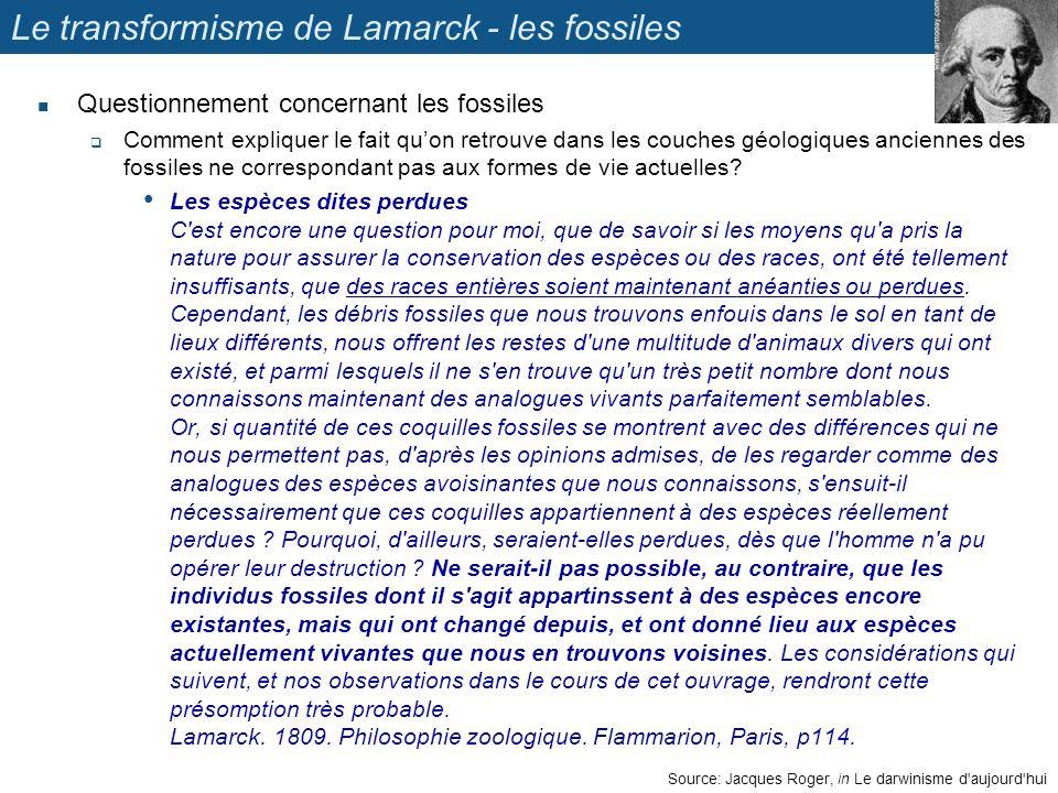 Le transformisme de Lamarck - les fossiles Questionnement concernant les fossiles Comment expliquer le fait quon retrouve dans les couches géologiques