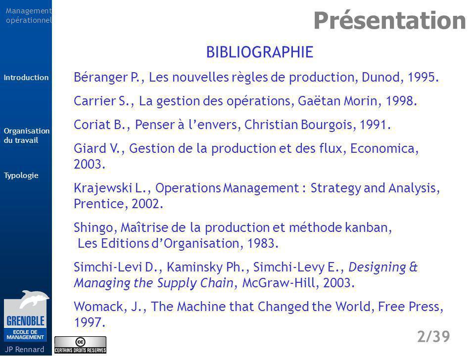 Management opérationnel Typologie 33/39 Introduction Organisation du travail JP Rennard La technologie et les équipements utilisés nécessitent un fonctionnement continu.