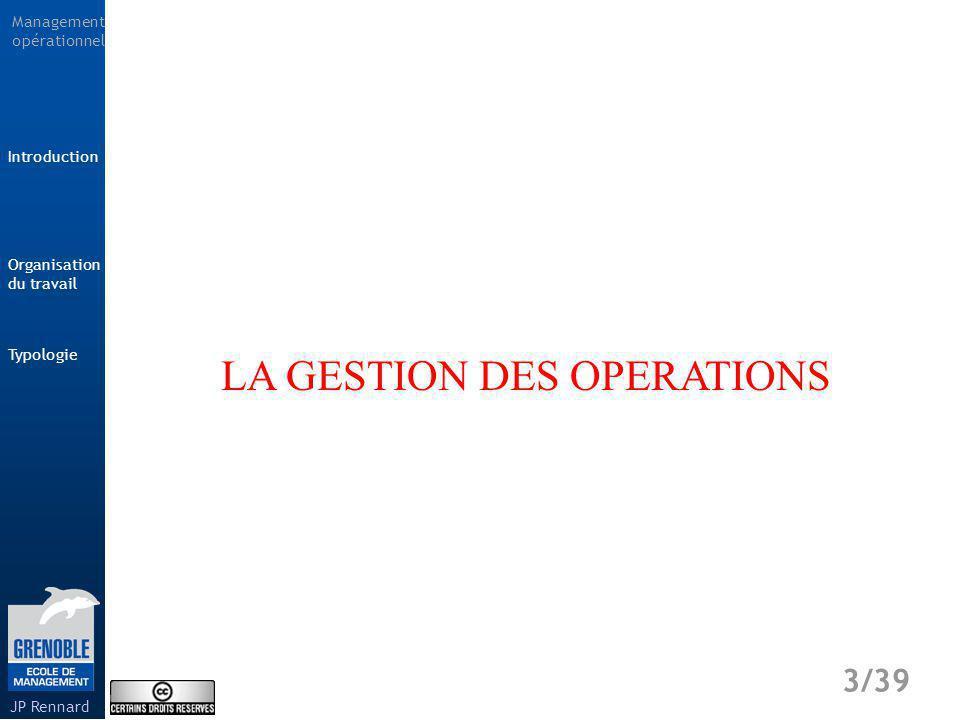 Management opérationnel Typologie 4/39 Introduction Organisation du travail JP Rennard Gestion des opérations Comment gérer les opérations de production et de distribution .
