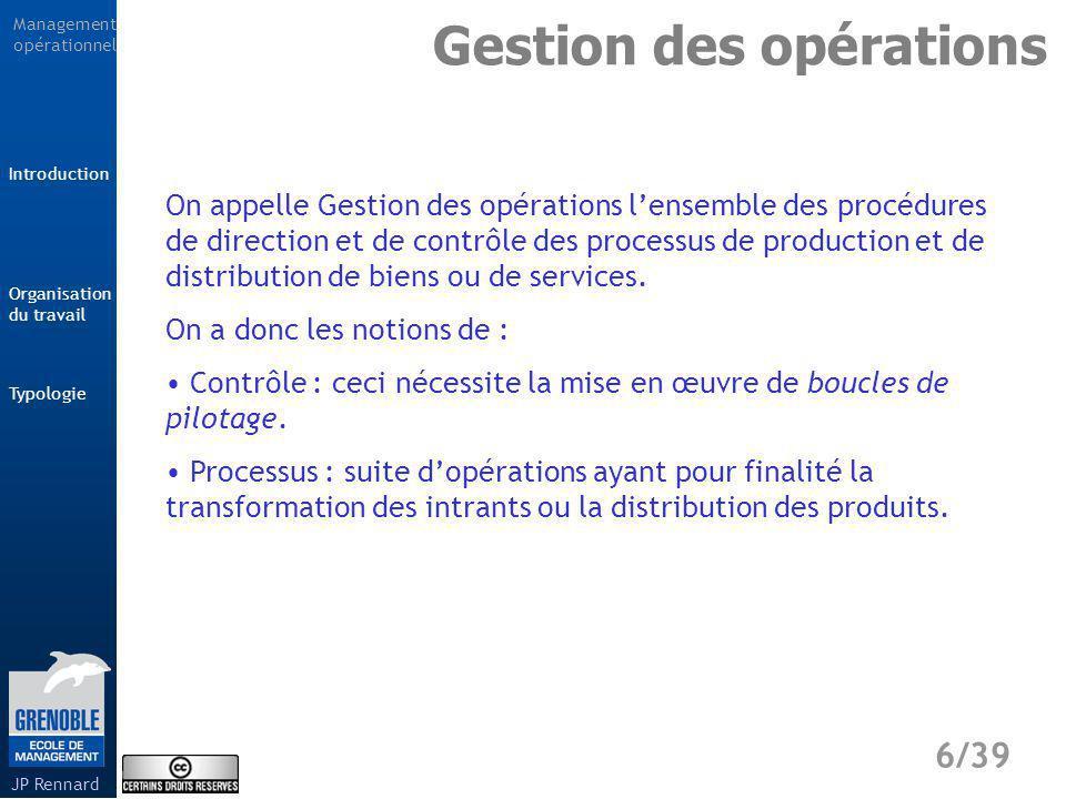 Management opérationnel Typologie 7/39 Introduction Organisation du travail JP Rennard Gestion des opérations Comment faire en sorte que les coûts de production et de distribution soient les plus faibles possibles ?