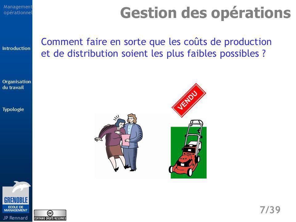 Management opérationnel Typologie 8/39 Introduction Organisation du travail JP Rennard Gestion des opérations Comment faire en sorte que les produits soient livrés dans les délais prévus et demandés par le client .