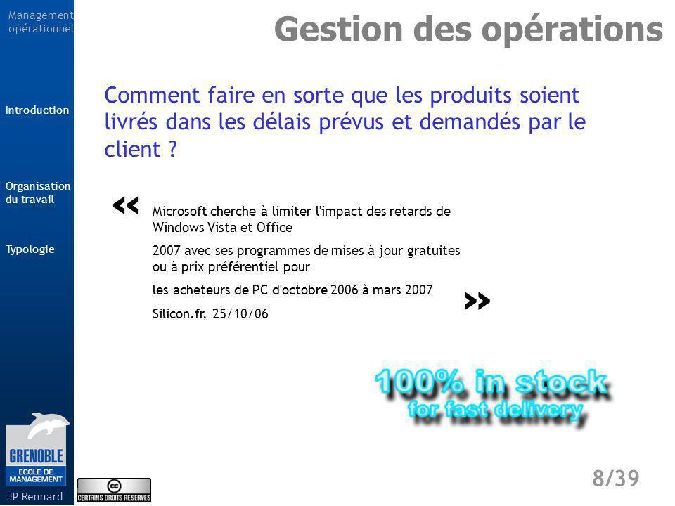 Management opérationnel Typologie 9/39 Introduction Organisation du travail JP Rennard Savoir-faire maîtrisé par les seuls professionnels.