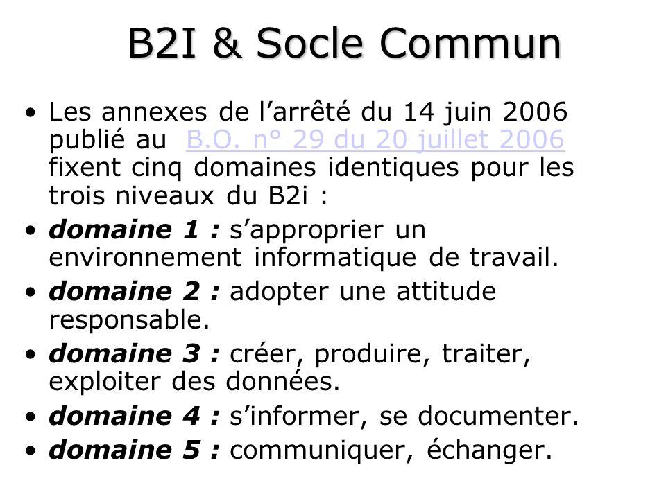 B2I & Socle Commun Les annexes de larrêté du 14 juin 2006 publié au B.O.