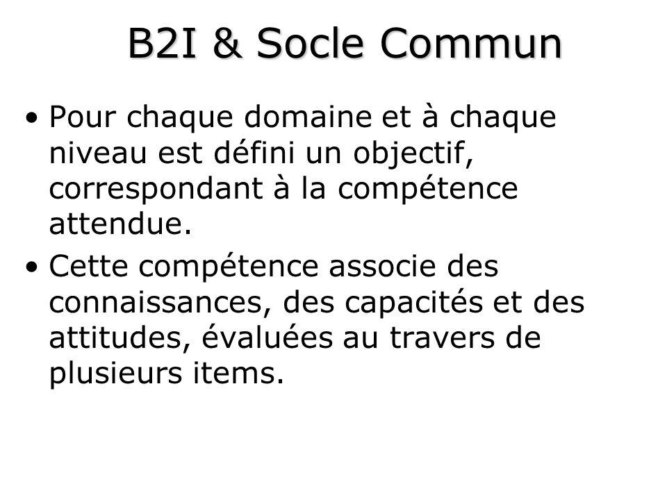 B2I & Socle Commun Pour chaque domaine et à chaque niveau est défini un objectif, correspondant à la compétence attendue.