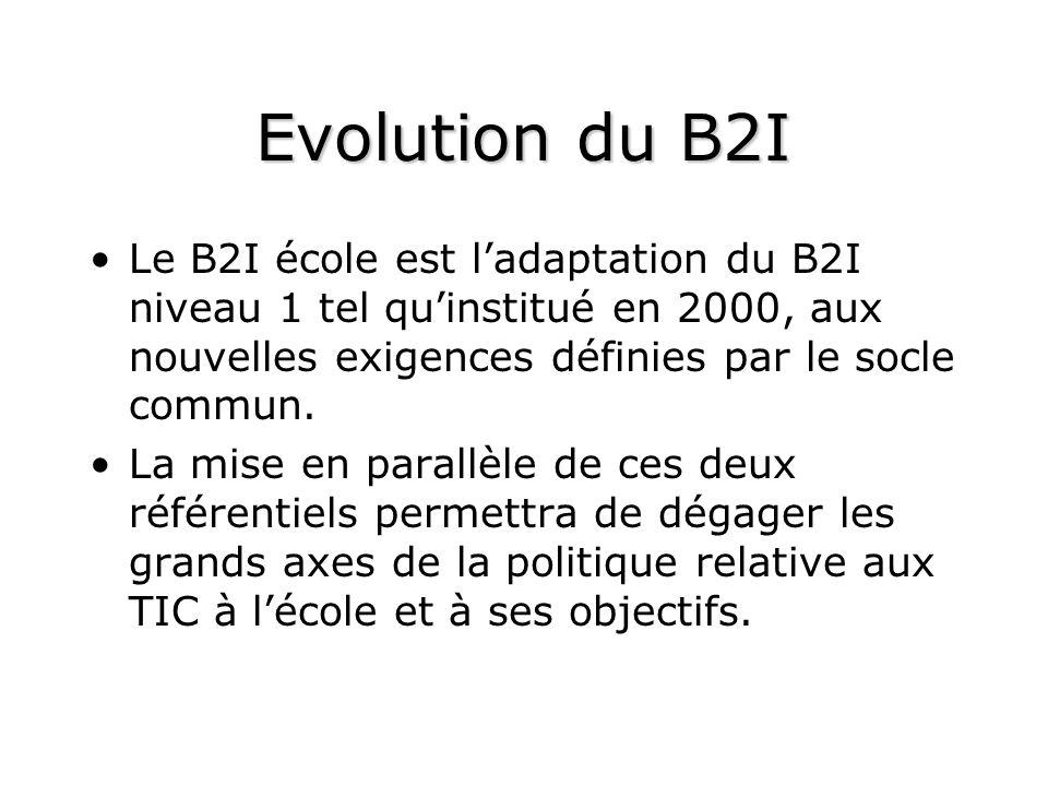 Evolution du B2I Le B2I école est ladaptation du B2I niveau 1 tel quinstitué en 2000, aux nouvelles exigences définies par le socle commun.