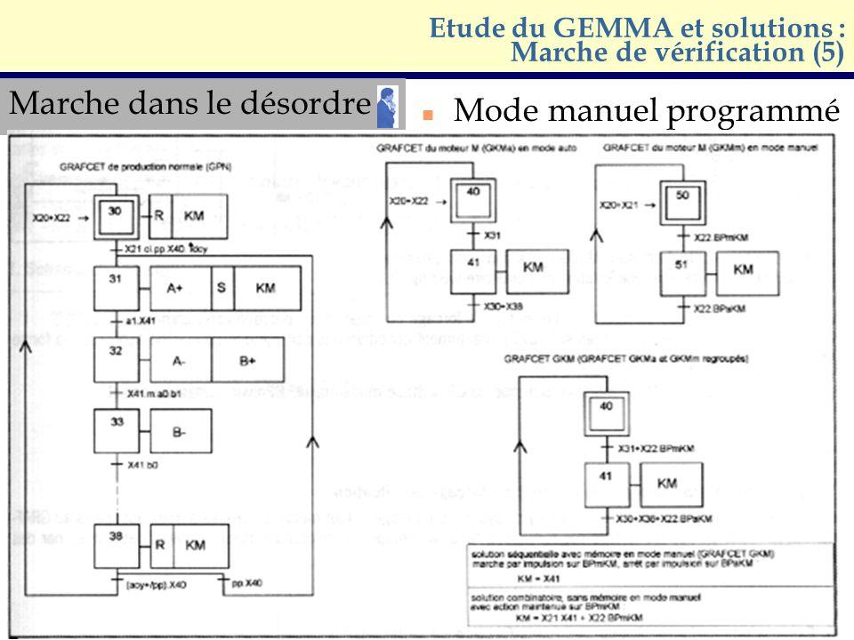 Marche dans le désordre n Mode manuel programmé Etude du GEMMA et solutions : Marche de vérification (5)