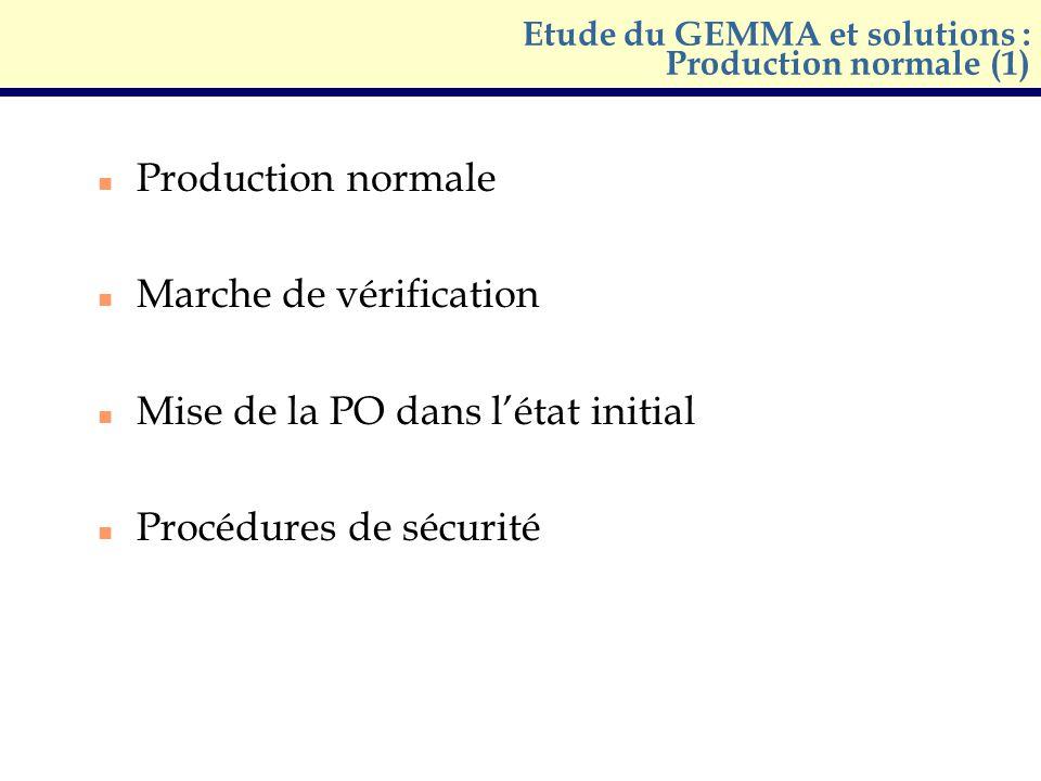 n Production normale n Marche de vérification n Mise de la PO dans létat initial n Procédures de sécurité Etude du GEMMA et solutions : Production nor