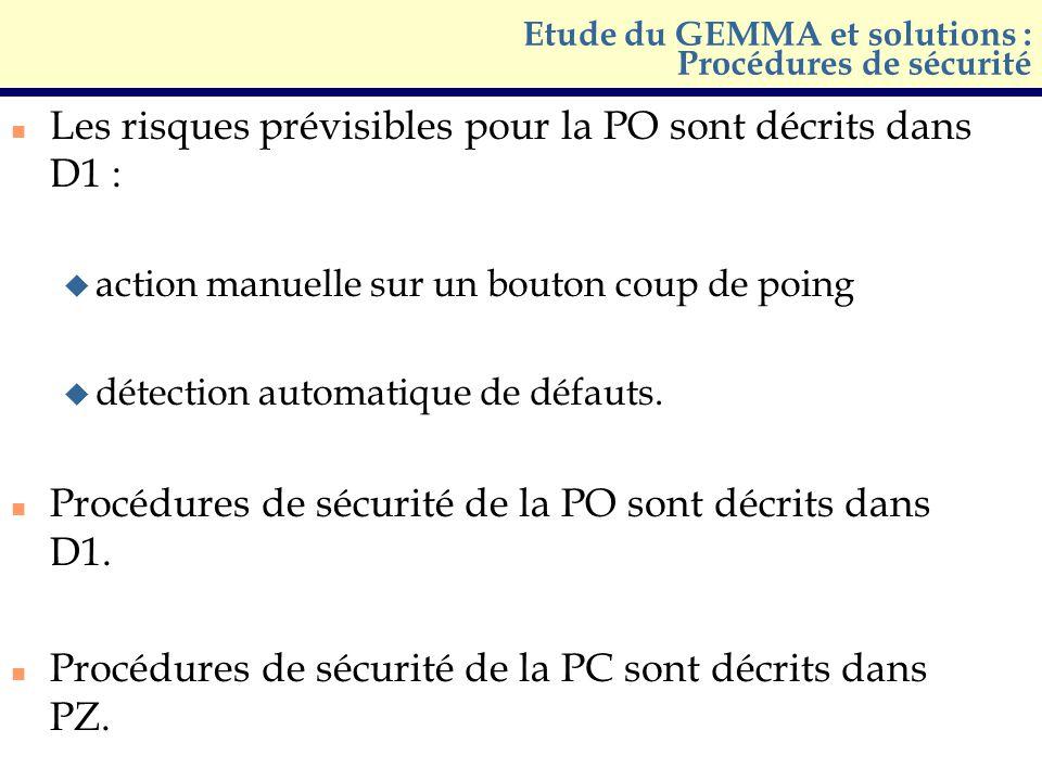 n Les risques prévisibles pour la PO sont décrits dans D1 : u action manuelle sur un bouton coup de poing u détection automatique de défauts. n Procéd