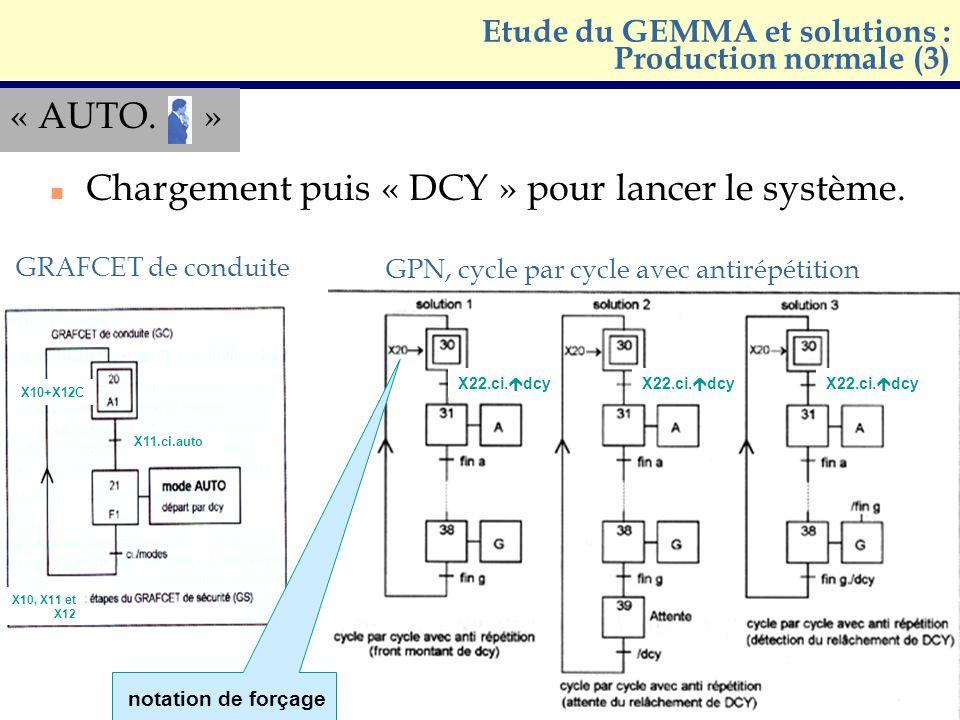 « AUTO. » n Chargement puis « DCY » pour lancer le système. Etude du GEMMA et solutions : Production normale (3) GRAFCET de conduite GPN, cycle par cy
