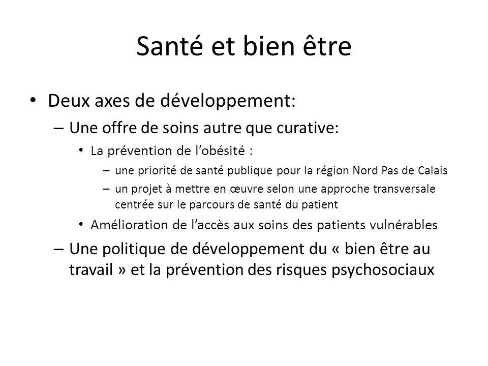 Santé et bien être Deux axes de développement: – Une offre de soins autre que curative: La prévention de lobésité : – une priorité de santé publique p