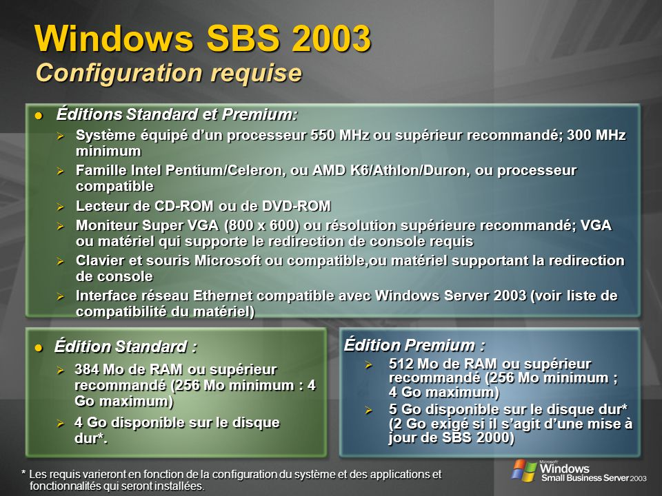 Windows SBS 2003 Configuration requise Édition Standard : Édition Standard : 384 Mo de RAM ou supérieur recommandé (256 Mo minimum : 4 Go maximum) 384