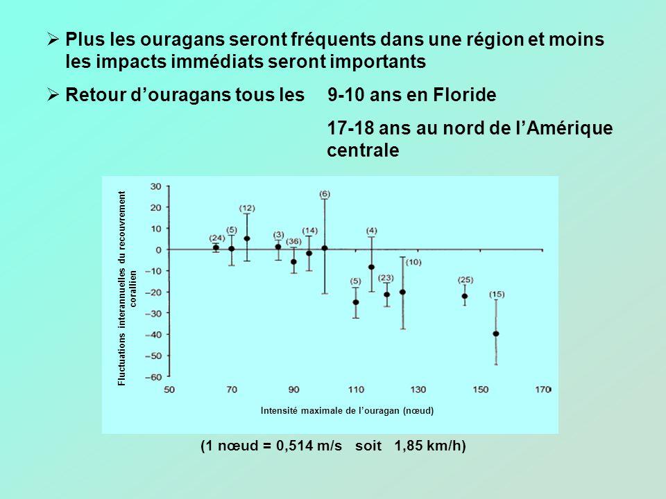 Plus les ouragans seront fréquents dans une région et moins les impacts immédiats seront importants Retour douragans tous les 9-10 ans en Floride 17-18 ans au nord de lAmérique centrale (1 nœud = 0,514 m/s soit 1,85 km/h) Intensité maximale de louragan (nœud) Fluctuations interannuelles du recouvrement corallien