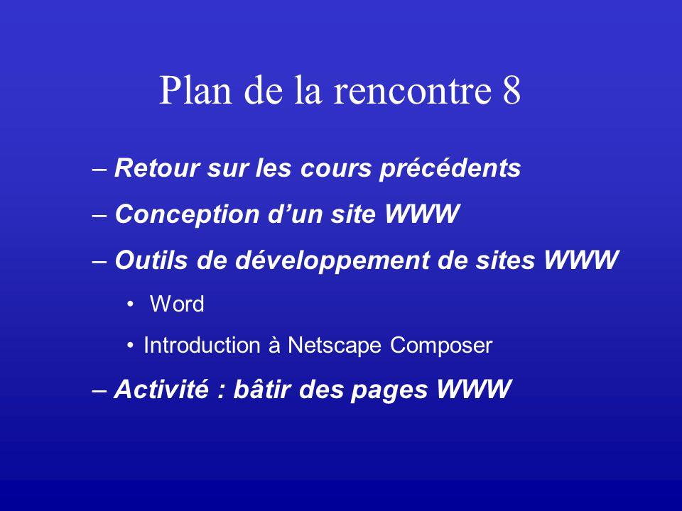 Plan de la rencontre 8 –Retour sur les cours précédents –Conception dun site WWW –Outils de développement de sites WWW Word Introduction à Netscape Composer –Activité : bâtir des pages WWW