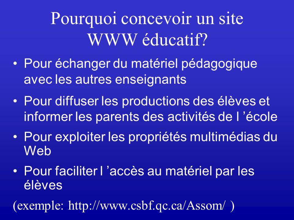 Plan de la rencontre 8 –Retour sur les cours précédents –Conception dun site WWW –Outils de développement de sites WWW Word Introduction à Netscape Co