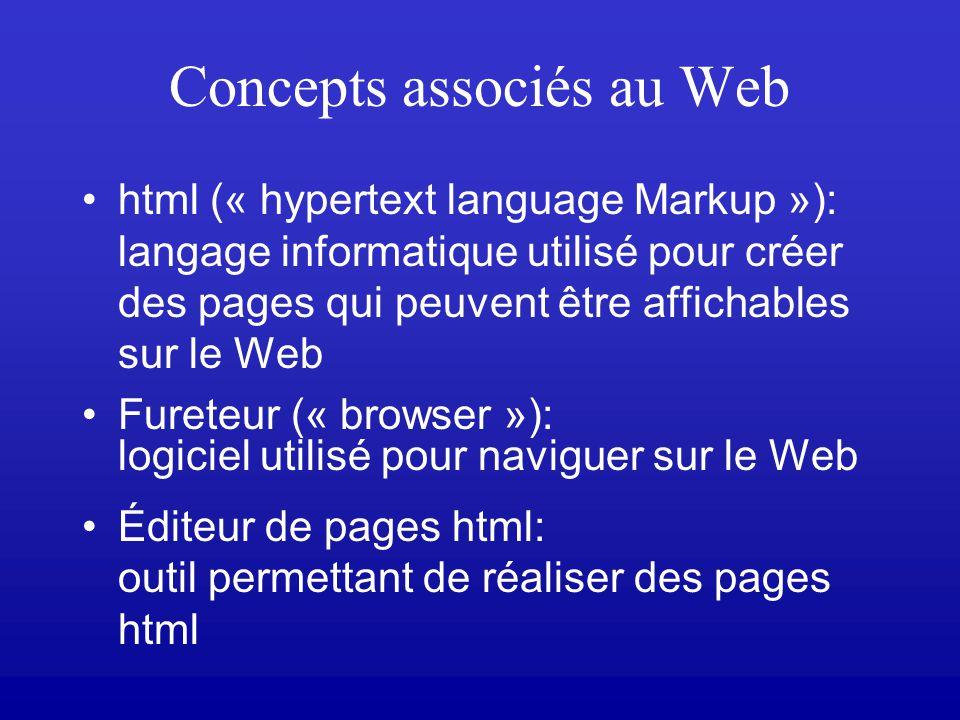 Concepts associés au Web html (« hypertext language Markup »): langage informatique utilisé pour créer des pages qui peuvent être affichables sur le Web Fureteur (« browser »): logiciel utilisé pour naviguer sur le Web Éditeur de pages html: outil permettant de réaliser des pages html
