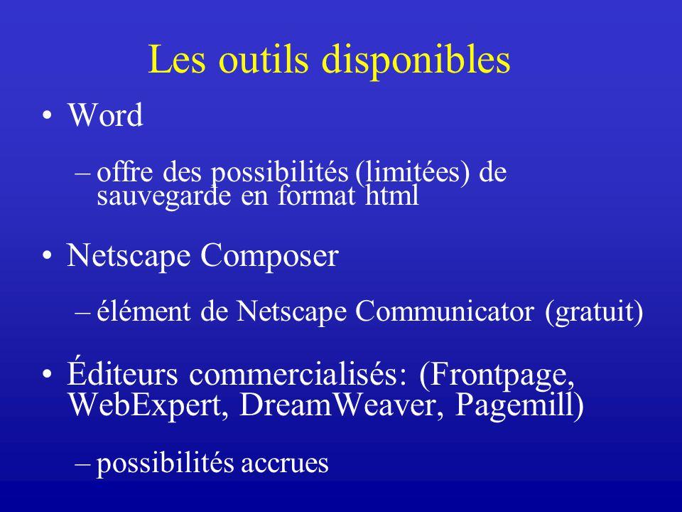 Les outils disponibles Word –offre des possibilités (limitées) de sauvegarde en format html Netscape Composer –élément de Netscape Communicator (gratuit) Éditeurs commercialisés: (Frontpage, WebExpert, DreamWeaver, Pagemill) –possibilités accrues
