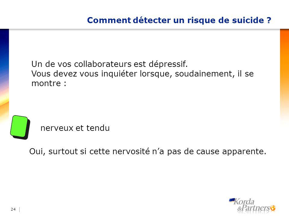 Comment détecter un risque de suicide ? 24 Un de vos collaborateurs est dépressif. Vous devez vous inquiéter lorsque, soudainement, il se montre : ner