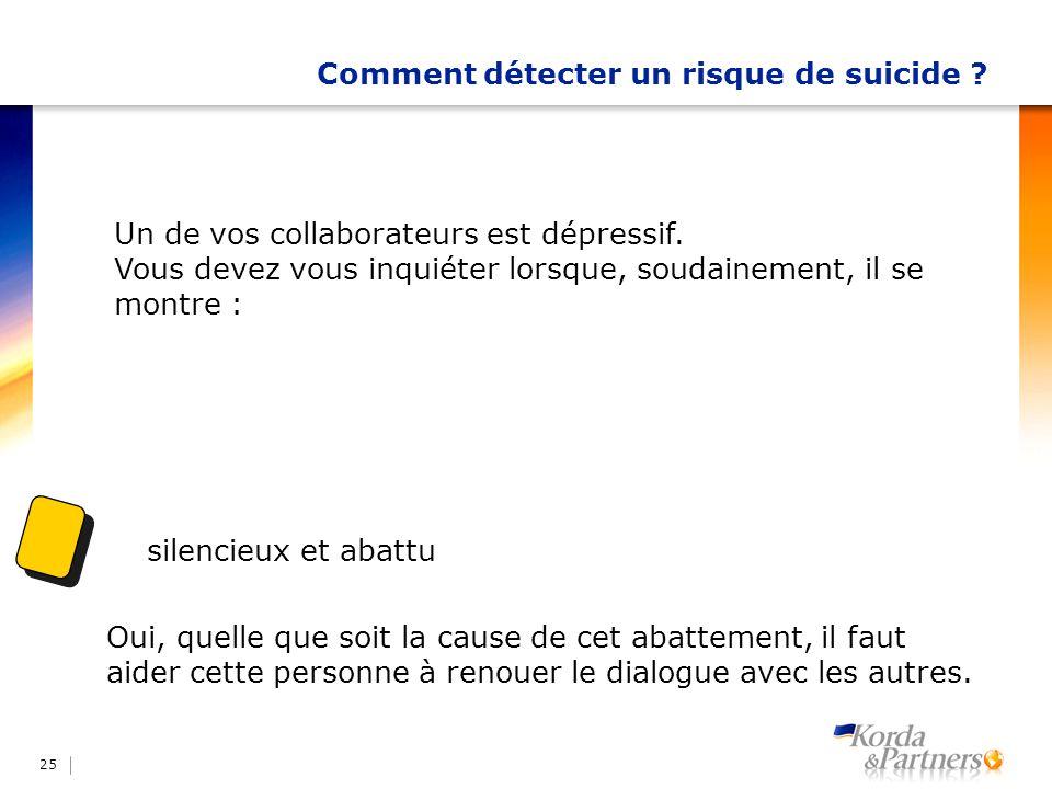 Comment détecter un risque de suicide ? 25 Un de vos collaborateurs est dépressif. Vous devez vous inquiéter lorsque, soudainement, il se montre : sil