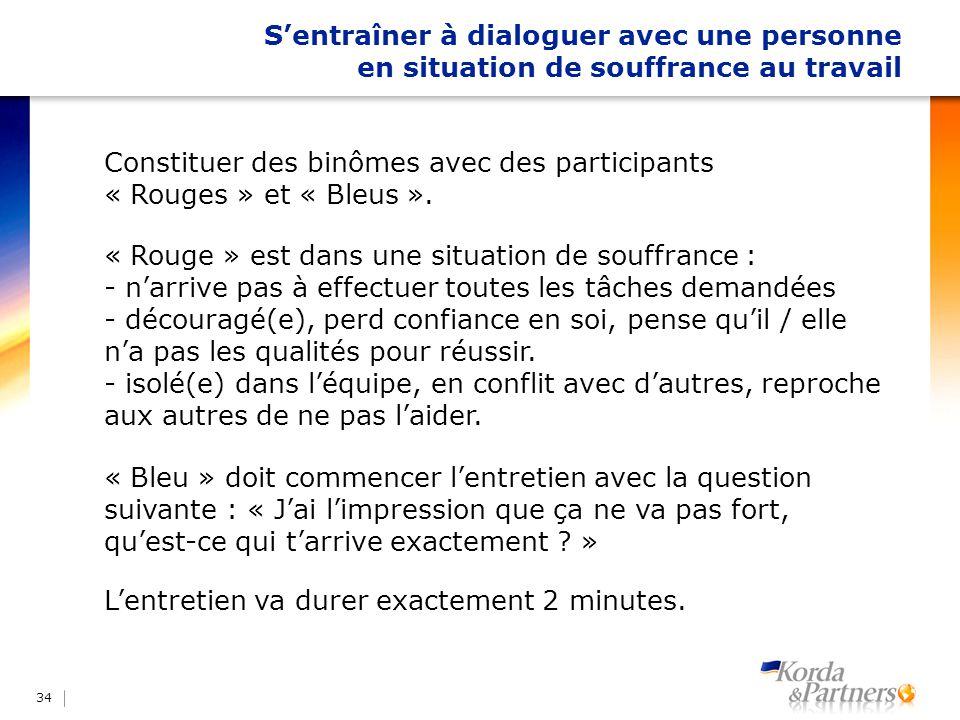 Sentraîner à dialoguer avec une personne en situation de souffrance au travail 34 Constituer des binômes avec des participants « Rouges » et « Bleus »