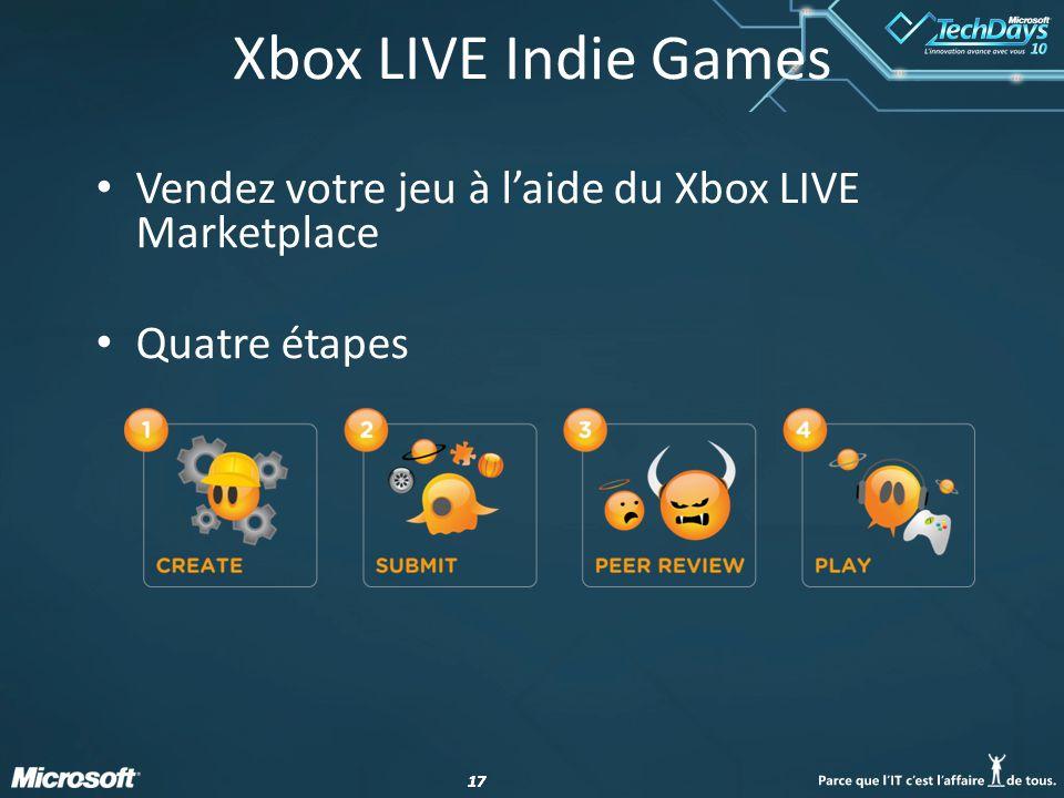 17 Vendez votre jeu à laide du Xbox LIVE Marketplace Quatre étapes Xbox LIVE Indie Games