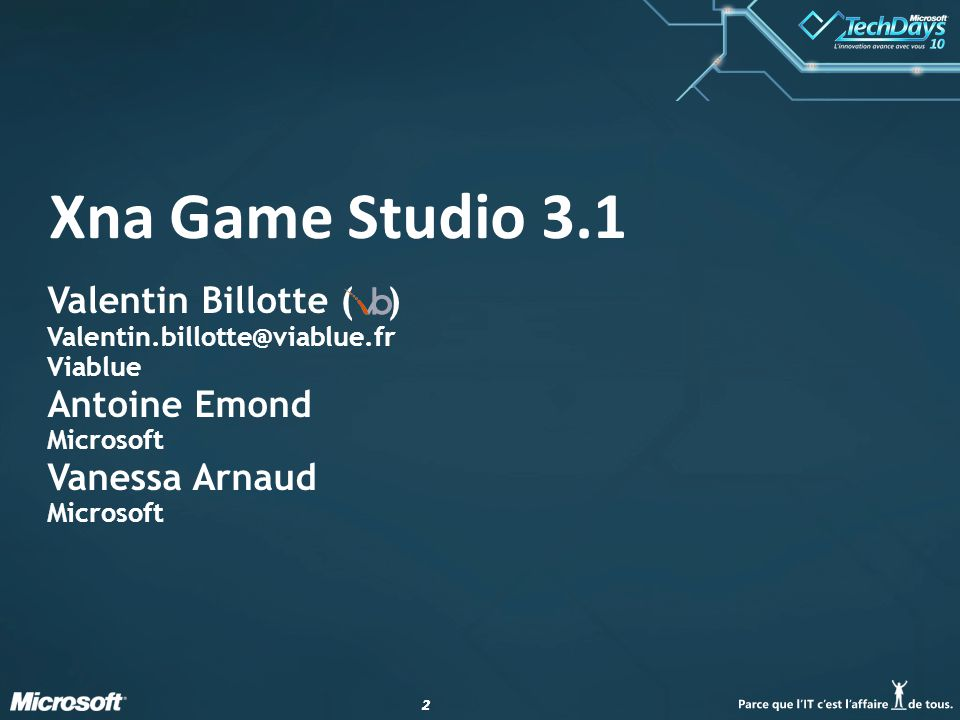 22 Xna Game Studio 3.1 Valentin Billotte ( ) Valentin.billotte@viablue.fr Viablue Antoine Emond Microsoft Vanessa Arnaud Microsoft