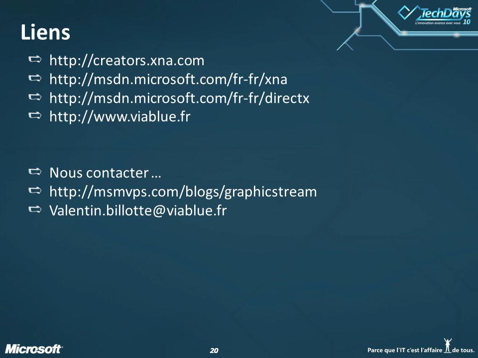 20 Liens http://creators.xna.com http://msdn.microsoft.com/fr-fr/xna http://msdn.microsoft.com/fr-fr/directx http://www.viablue.fr Nous contacter … ht