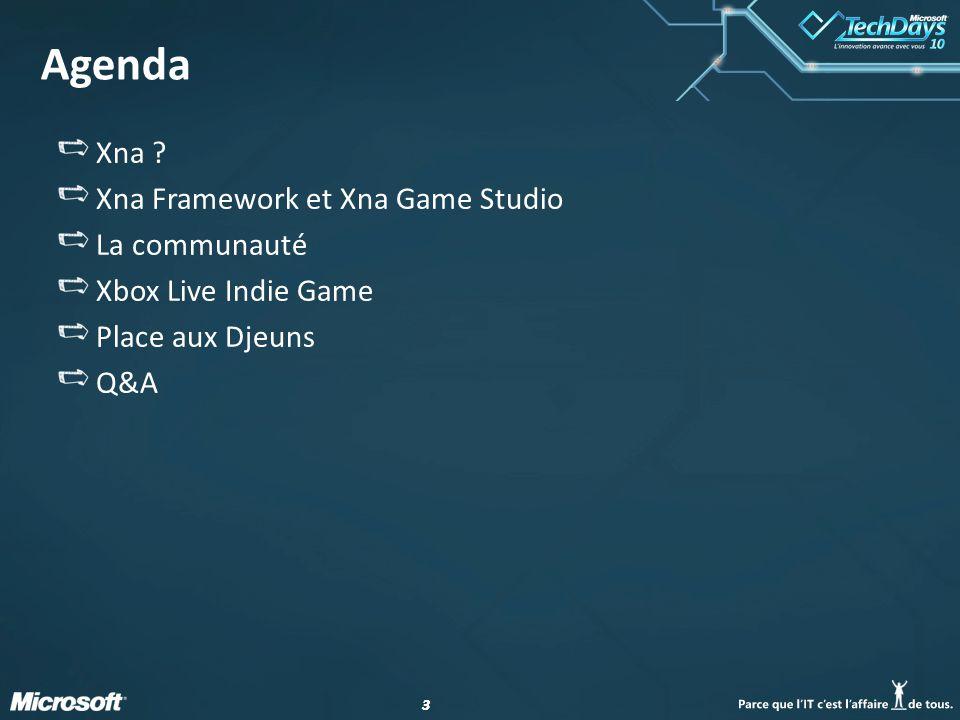 33 Agenda Xna ? Xna Framework et Xna Game Studio La communauté Xbox Live Indie Game Place aux Djeuns Q&A