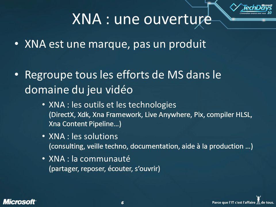 66 XNA : une ouverture XNA est une marque, pas un produit Regroupe tous les efforts de MS dans le domaine du jeu vidéo XNA : les outils et les technol