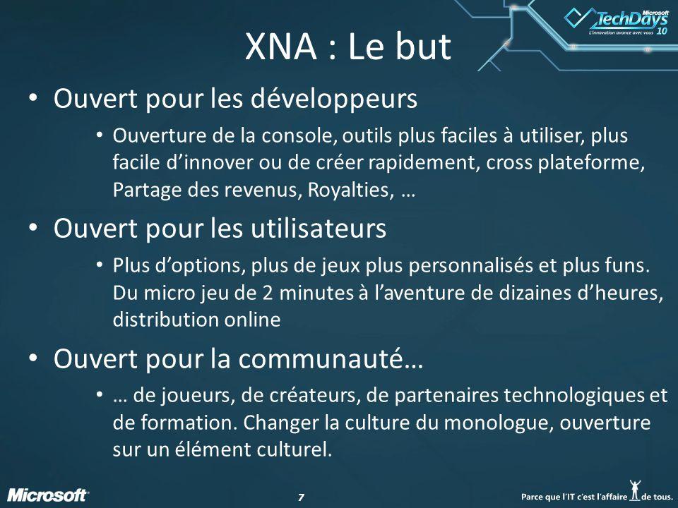 77 XNA : Le but Ouvert pour les développeurs Ouverture de la console, outils plus faciles à utiliser, plus facile dinnover ou de créer rapidement, cro