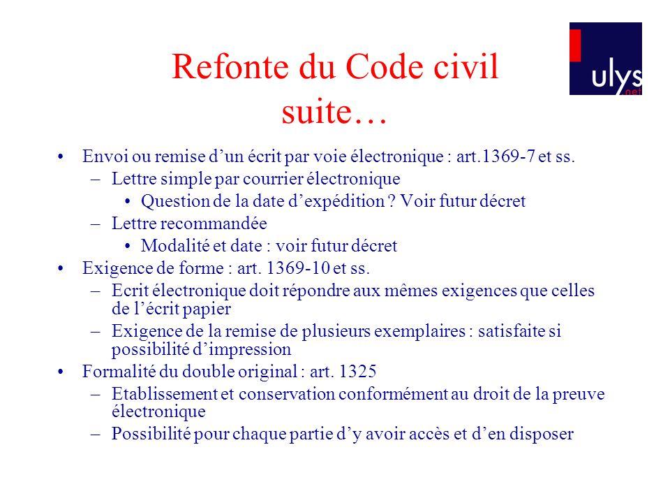 Refonte du Code civil suite… Envoi ou remise dun écrit par voie électronique : art.1369-7 et ss. –Lettre simple par courrier électronique Question de