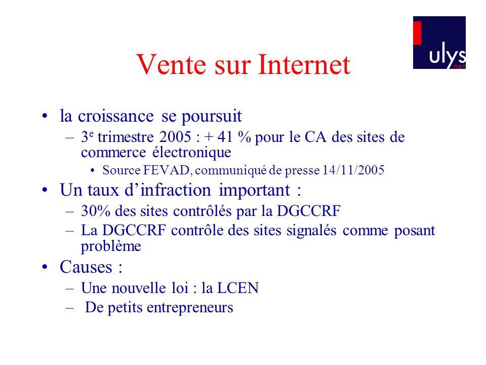 Vente sur Internet la croissance se poursuit –3 e trimestre 2005 : + 41 % pour le CA des sites de commerce électronique Source FEVAD, communiqué de pr