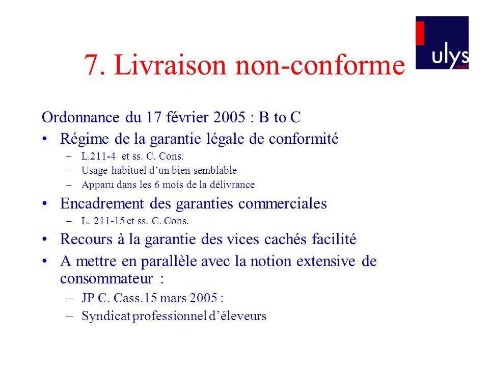 7. Livraison non-conforme Ordonnance du 17 février 2005 : B to C Régime de la garantie légale de conformité –L.211-4 et ss. C. Cons. –Usage habituel d